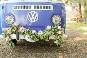 VW bus with floral vine