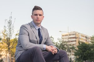 One young man ordinary portrait suit