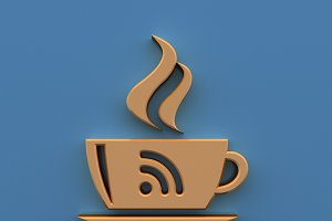 Free Wi-Fi zone icon: 3D coffee cup
