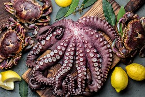 Seafood octopus. Whole fresh raw octopus and crabs on wooden board with lemon and laurel, gray slate background, top view