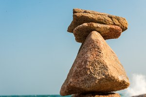 Balancing of Stones on a Beach
