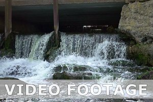 Artificial dam waterfall in slow motion