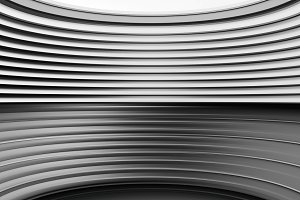 Horizontal black and white curved panels illustration background
