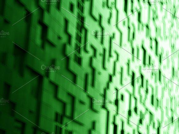 Diagonal Green Cubes Bokeh Background