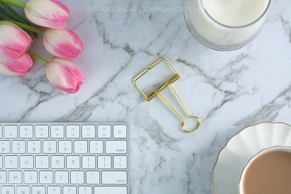 Styled Stock Photo Pink Workspace