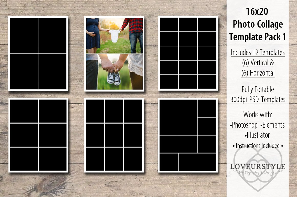 16x20 photo collage template pack 1 flyer templates for 4 picture collage template