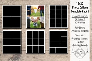 16x20 Photo Collage Template Pack 1