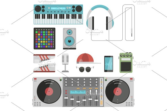 Hip Hop Accessory Musician Instruments Breakdance Expressive Rap Music Dj Vector Illustration