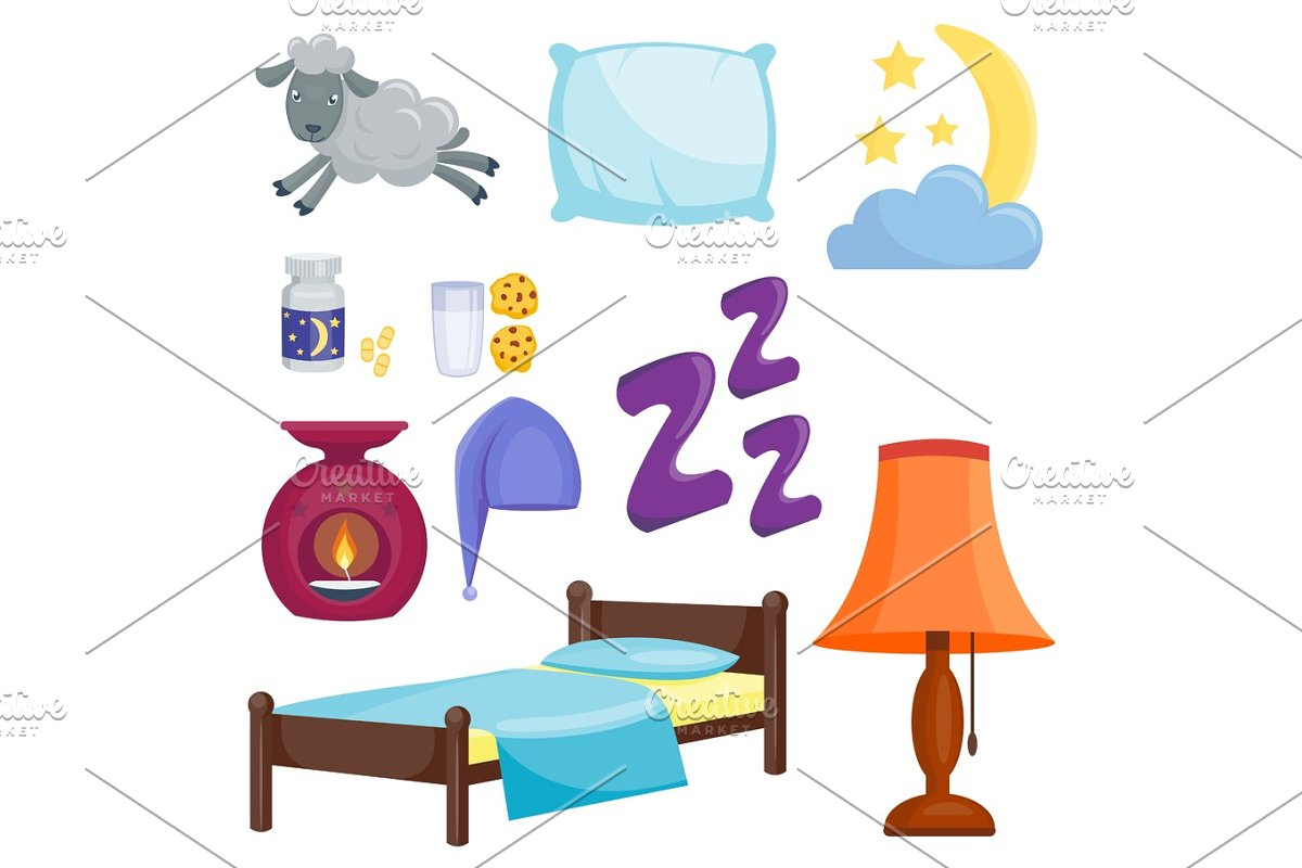 Sleep Icons Vector Illustration Set Collection Nap Icon Moon Relax