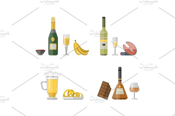 Alcohol Drinks Beverages Cocktail Appetizer Bottle Lager Container Drunk Different Snacks Glasses Vector Illustration