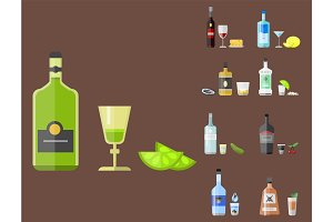 Alcohol drinks beverages cocktail appetizer bottle lager container drunk different snacks glasses vector illustration.