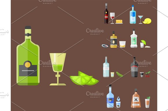Alcohol Drinks Beverages Cocktail Appetizer Bottle Lager Container Drunk Different Snacks Glasses Vector Illustration