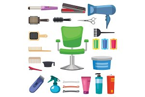 Fashion hairdresser with hair clipper and hairbrush isolated professional stylish barber tools for cutting vector illustration.