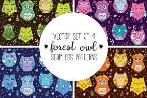 Forest owls patterns set x4