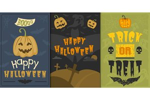 Set of happy halloween greeting card vector illustration party invitation design with spooky emblem.
