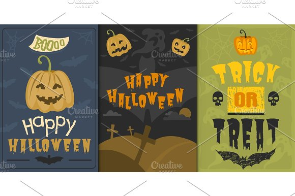 Set Of Happy Halloween Greeting Card Vector Illustration Party Invitation Design With Spooky Emblem