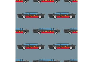 Vector seamless pattern luxury limousine long car transportation detailed auto business transport design pickup