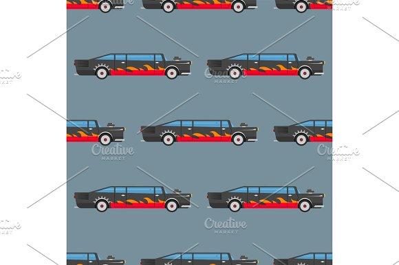 Vector Seamless Pattern Luxury Limousine Long Car Transportation Detailed Auto Business Transport Design Pickup