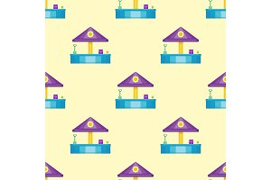 Children playground fun childhood seamless pattern play park activity flat vector illustration