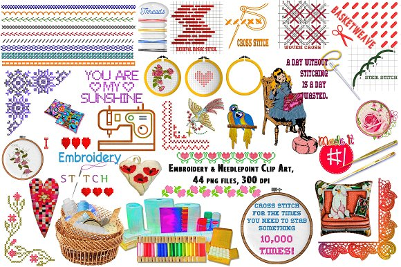 Embroidery Needlepoint ClipArt