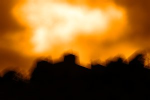 Horizontal sunset landscape silhouette bokeh background