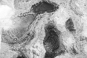 Horizontal black and white rusty texture background