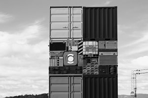 Norway black and white transport crates background