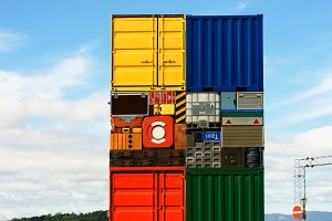 Norway colorful transport crates background