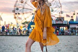 woman having fun at amusement park
