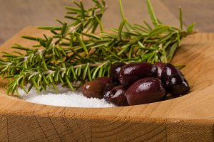 Rosemary herb with olives