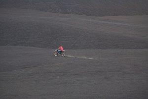 Riding bike in volcano ash
