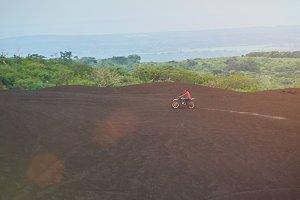 Man ride motorbike outdoor