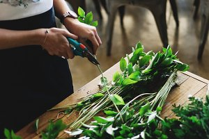 Florist cutting greenery