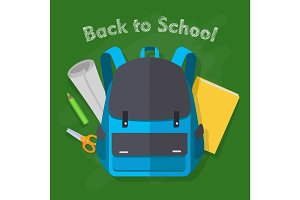 Back to School. Blue Backpack. Office Supplies