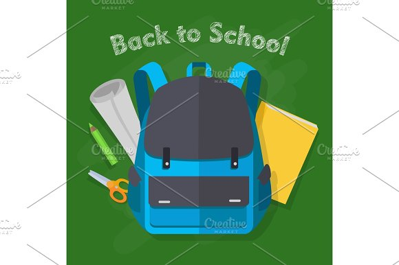 Back To School Blue Backpack Office Supplies