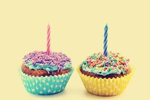 Birthday cupcakes, vintage