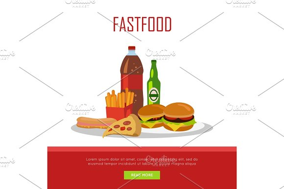 Fast Food Banner Isolated On White Background