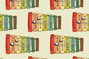Musical instrument seamless pattern
