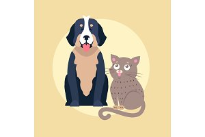 Cute Dog and Cat Cartoon Flat Vector Icon