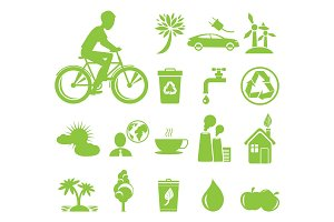 Ecology Saving and Anti Pollution Green Symbols