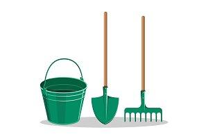Gardening Bucket, Green Shovel and Rake on White