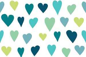 Stylized heart seamless pattern