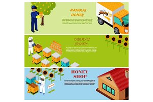Natural, Organic and Shop Honey Vector Poster