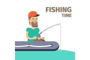 Fishing time. Fisherman Character Illustration
