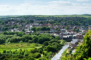 View of old English town of Lewes