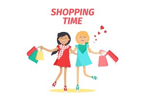 Friends Shopping Time Flat Vector Concept