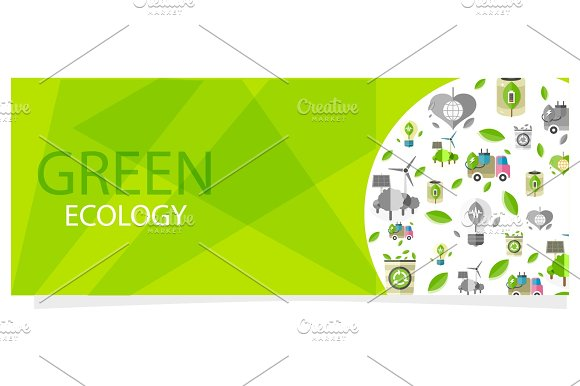 Green Ecology Flyer With Circle Full Of Eco Icons