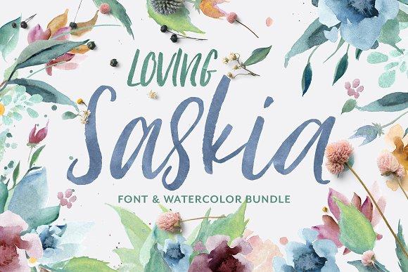 Loving Saskia Font Graphics Bundle