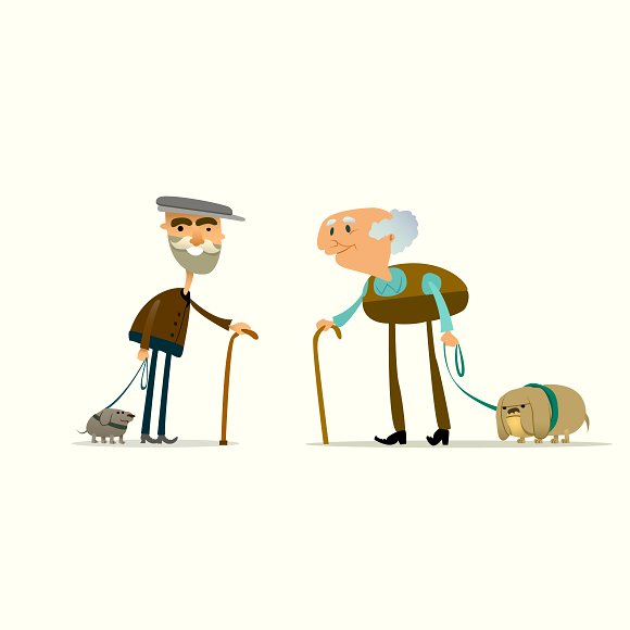 Two Funny Old Men With Dogs