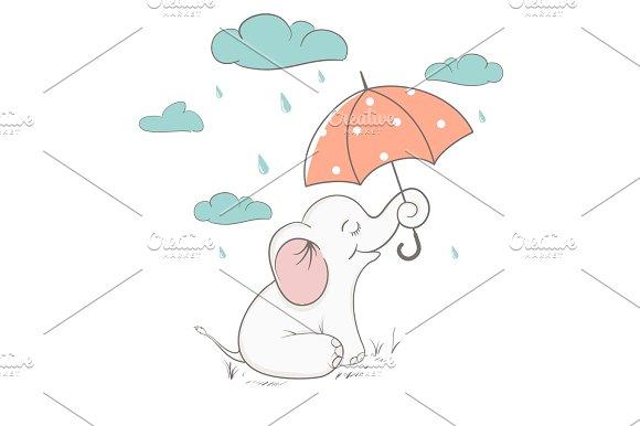 Cute Elephant Holds An Umbrella